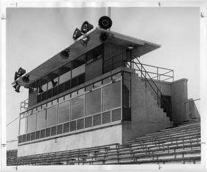 Primary view of object titled '[Newly-constructed Press Box at Fouts Field]'.