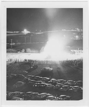 Primary view of object titled '[Elevated view of North Texas Homecoming bonfire, 1962]'.