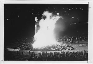 Primary view of object titled '[Elevated view of North Texas Homecoming bonfire, 1968]'.