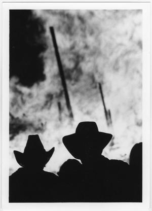 Primary view of object titled '[Crowd silhouettes at North Texas Homecoming bonfire, 1980]'.