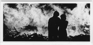 Primary view of object titled '[Couple silhouetted against North Texas Homecoming bonfire, 1983]'.