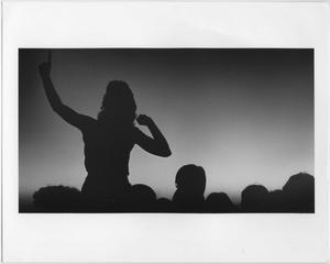 Primary view of object titled '[Crowd silhouettes at North Texas Homecoming bonfire activities, c. 1980]'.