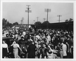 Primary view of object titled '[North Texas Homecoming, Denton Depot, 1941]'.