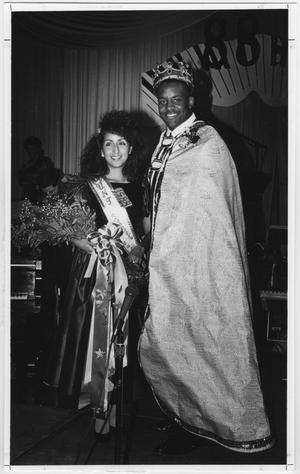 Primary view of object titled '[North Texas Homecoming King and Queen on stage, 1988]'.