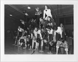 Primary view of object titled '[Photo of North Texas Homecoming Pep Rally, 1983]'.