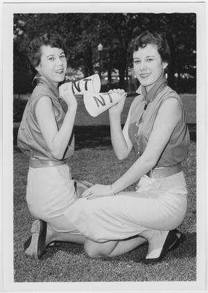 Primary view of object titled '[Twin North Texas State College Cheerleaders, 1954]'.