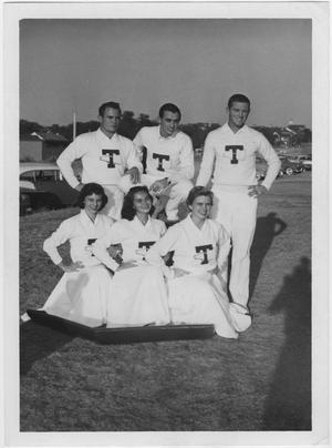Primary view of object titled '[North Texas State College Cheerleaders, 1956]'.