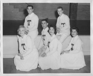 Primary view of object titled '[North Texas State College Cheerleaders, 1958]'.