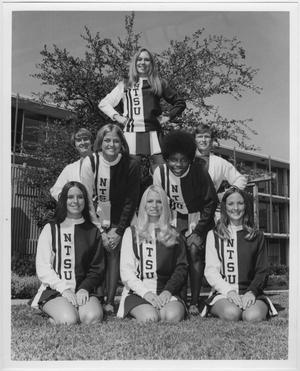 Primary view of object titled '[North Texas State University Cheerleaders, 1971-72]'.