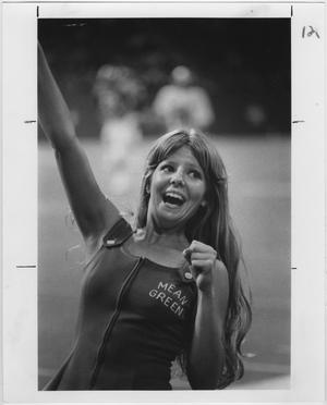 Primary view of object titled '[North Texas State University Cheerleader, 1977]'.