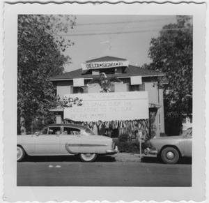 Primary view of object titled '[Delta Sigma Pi House During Homecoming, 1955]'.