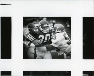 Primary view of object titled '[North Texas Player Breaks Away from His Opponent]'.