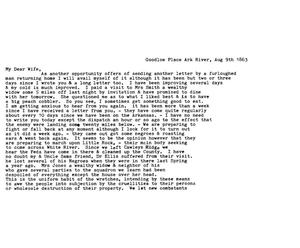 Primary view of [Transcript of Letter from David Fentress to his wife Clara, August 9, 1863]