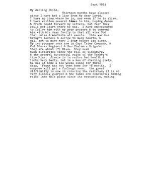 Primary view of [Transcript of Letter from Maud Fentress to one of her daughters, September 1863]