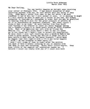 Primary view of [Transcript of Letter from  David Fentress to Clara, March 29, 1863]