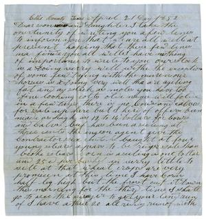 Primary view of [Letter from David Smith to Daughter, April 21, 1852]