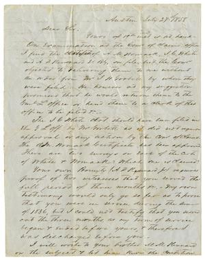 Primary view of [Letter from H. W. Raglin to A. D. Kennard Jr., July 27, 1858]