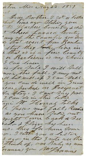 Primary view of [Letter from M. Thomas to his Brother, August 22, 1859]