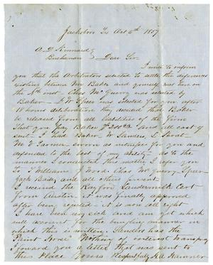 Primary view of [Letter from M. A. Hamner to A. D. Kennard, October 6, 1859]