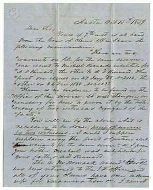 Primary view of [Letter from H.W. Raglin to A.D. Kennard Jr., October 15, 1859]