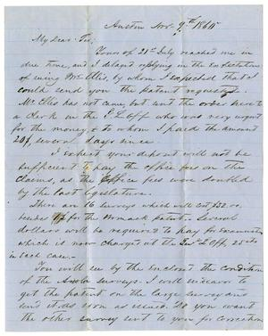 Primary view of [Letter from H.W. Raglin to A.D. Kennard, November 9, 1860]