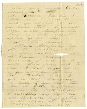Primary view of [Letter from Phillip Sanders to A. D. Kennard, March 24, 1862]