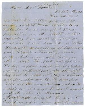 Primary view of [Letter from David S. Kennard to Sarah Kennard, October 12, 1862]