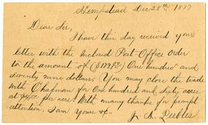 Primary view of [Postcard from J. A. Peebles to A. D. Kennard, December 28, 1877]