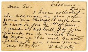 Primary view of [Postcard from B.A. Doby to A.D. Kennard, May 16, 1883]