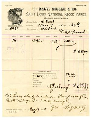 Primary view of [Receipt from Daly, Miller, & Co. for Cattle Purchase]