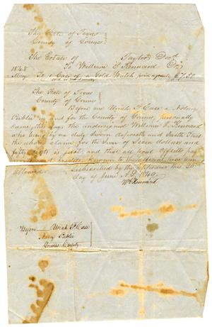 Primary view of [Legal document to William E. Kennard, June 27, 1849]