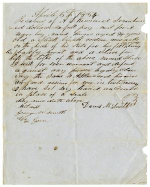 Primary view of [Receipt for sale of slave to A. D. Kennard, April 5, 1854]