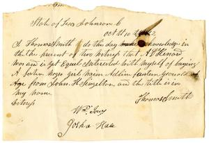 Primary view of object titled '[Receipt for sale of slave to A. D. Kennard, October 10,  1842]'.