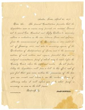 Primary view of [Letter from John Dowell, April 20, 1876]