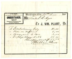 Primary view of object titled '[Undertaker's receipt, December 21, 1861]'.
