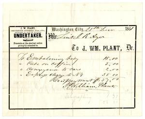 Primary view of [Undertaker's receipt, December 21, 1861]