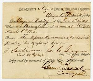 Primary view of [Pass for Hamilton Redway, March 4, 1862]