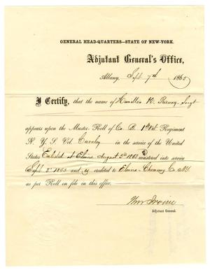 Primary view of object titled '[Certificate of enlistment, September 7, 1863]'.
