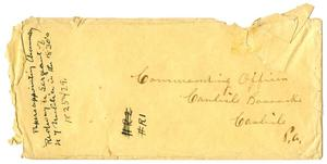 Primary view of object titled '[Envelope to Commanding Officer of the Carlisle Barracks]'.