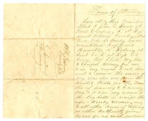Primary view of object titled '[Power of Attorney Letter from John E. Ronk to Hamilton K. Redway on April 18, 1864]'.