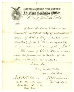 Primary view of object titled '[Letter from J. B. Stonehouse to Captain Hamilton K. Redway, January 25, 1865]'.