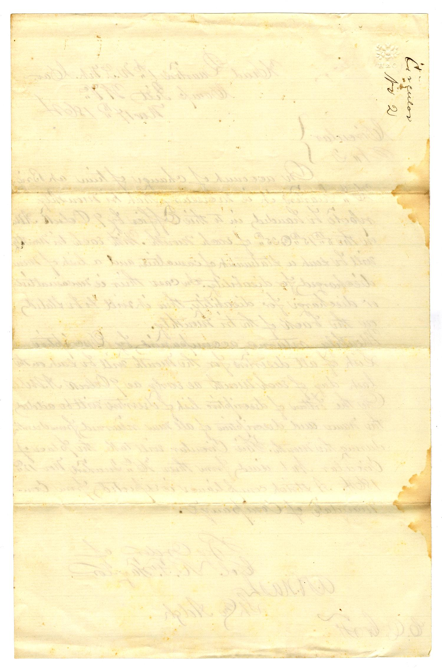 [Letter from Col. R. F. Taylor, November 17, 1864]                                                                                                      [Sequence #]: 2 of 2