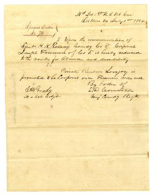 Primary view of object titled '[Letter from E. D. Comstock Special Order, July 1, 1864]'.