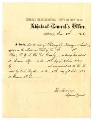 Primary view of [Certification of Henry R. Redway, June 6, 1866]