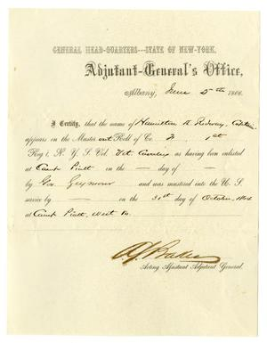 Primary view of object titled '[Certification of Hamilton K. Redway, June 5, 1866]'.