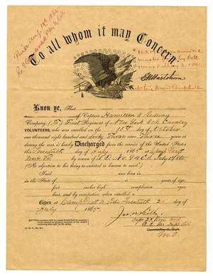 Primary view of [Discharge of Hamilton K. Redway, July 17, 1866]