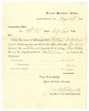 Primary view of object titled '[Letter of Notification Regarding William W. Wilson, May 4, 1864]'.
