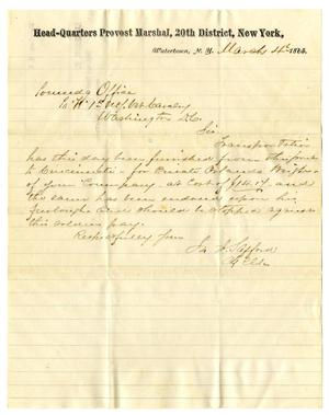 Primary view of object titled '[Letter from J. J. Safford to the Commanding Officer, March 4, 1865]'.
