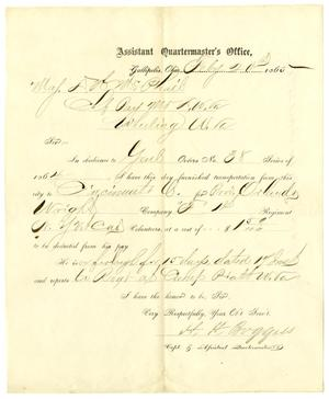Primary view of [Letter from H. H. Burggiss to Maj. D. H. McPhail, February 20, 1865]
