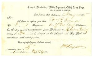 Primary view of [Letter from William Haylon, January 24,1865]